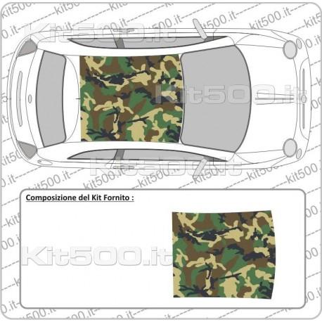 Tetto Stampato Camo Woodland per Fiat 500 e 500 Abarth